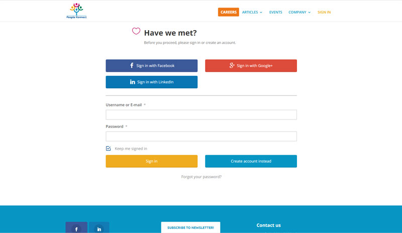 Login screen with social login