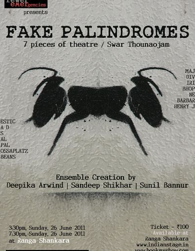 Publicity poster designed for the play Fake Palindromes.